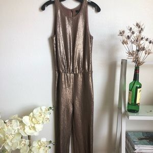 Sequined, champagne colored, full length jumpsuit